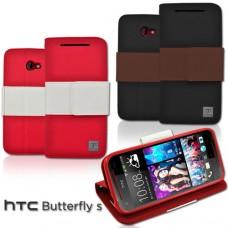 HTC Butterfly S 雙色書本站立皮套